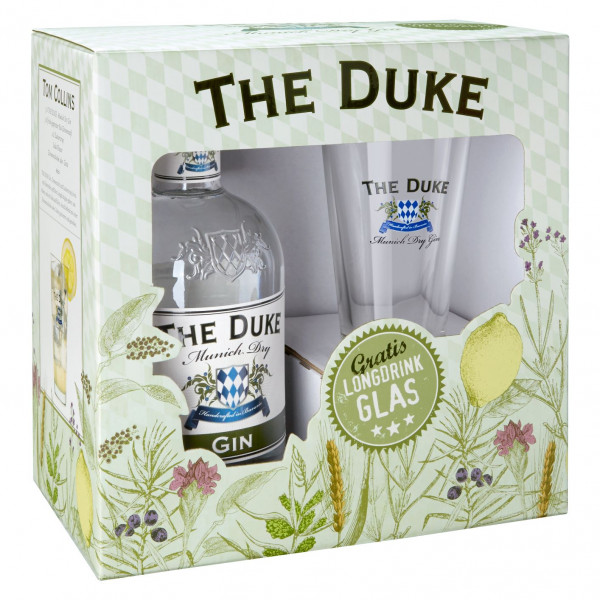 Box: Glas + The Duke Munich Dry Gin - 0,7L 45% vol