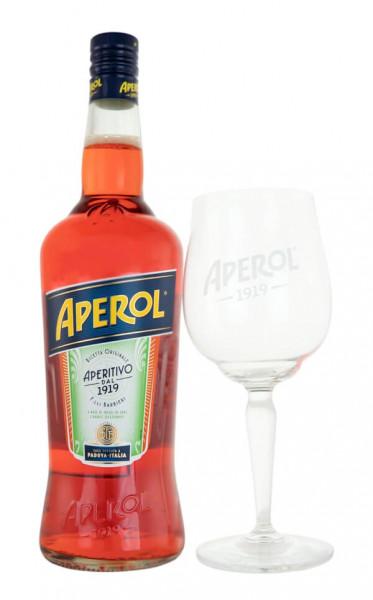 SET: Aperol Aperitif Bitter 1L + Aperol Ballon Glas 1919 - 1 Liter 11% vol