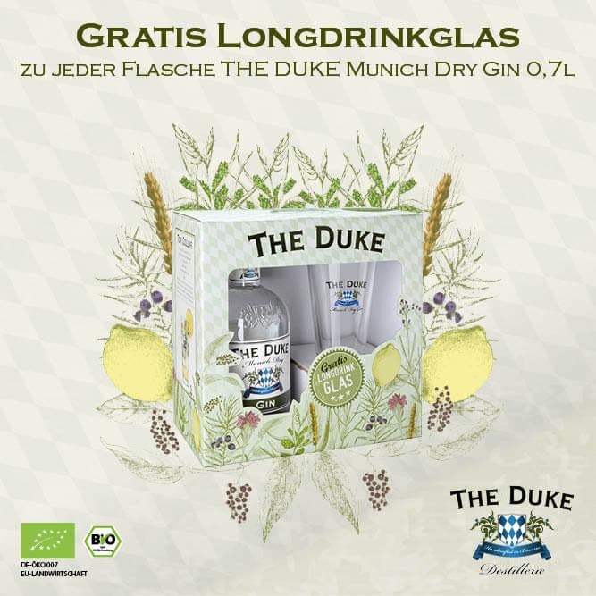 Duke mit Glas