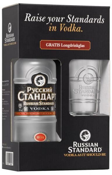 Russian Standard Vodka in GEPA mit Longdrink-Glas - 0,7L 40% vol