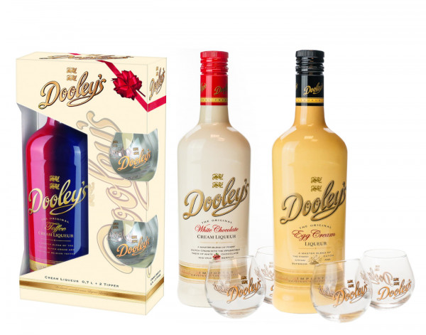 Dooleys Toffee Cream + White Chocolate + Egg Cream Liqueur + 6 Gläser - 2,1L 15,6% vol