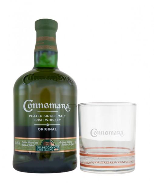 Connemara Peated Single Malt Irish Whiskey Geschenkverpackung mit Nosing-Glas - 0,7L 40% vol