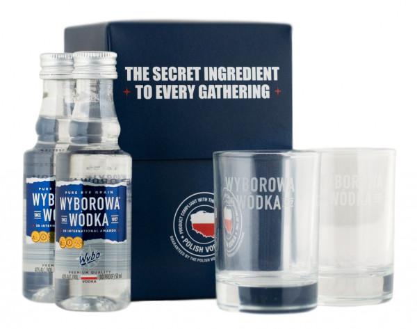 Wyborowa Set Tasting Flaschen und Shotgläser - 0,1L 40% vol