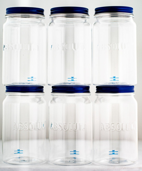 Set: Absolut Vodka Jar Becher 6er Set mit Strohhalmen