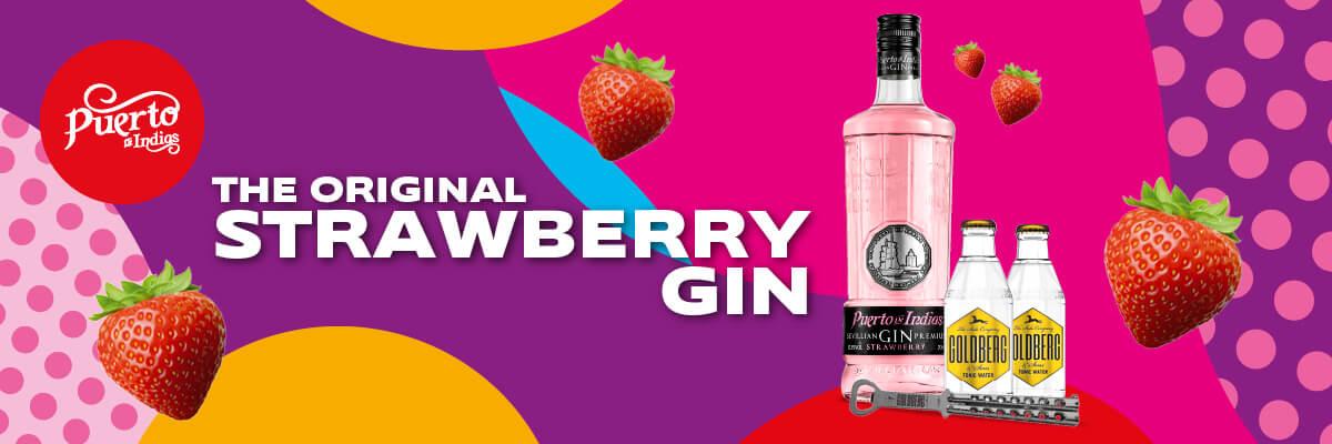 SET: Puerto De Indias Strawberry Gin 0,7L + 2 Goldberg Tonic 0,2L + Butterfly Flaschenöffner