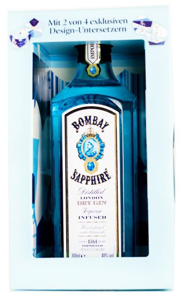 Bombay Sapphire Gin mit 2 Designuntersetzern - 0,7L 40% vol