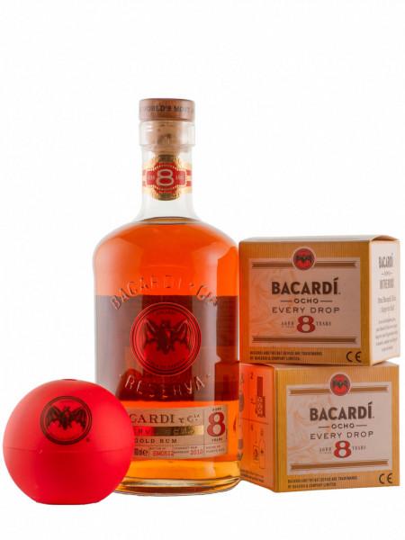 Set: Bacardi 8 Jahre + 2 Eiswürfelformen - 0,7L 40% vol