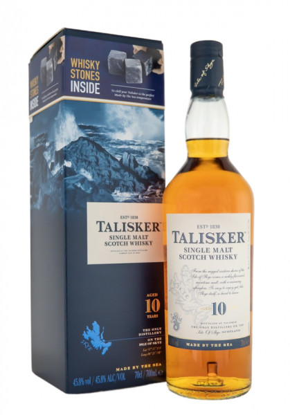 Talisker 10 Jahre Single Malt Scotch Whisky + Whisky-Steine - 0,7L 45,8% vol