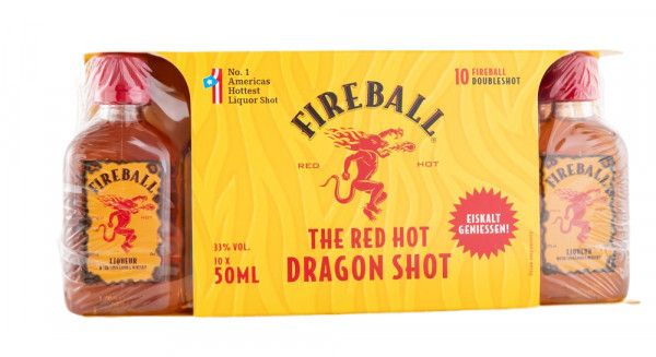 10 x 0,05 L Fireball Miniaturen Whisky-Likör - 0,5L 33% vol