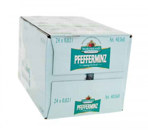 Paket [24 x 0,02L] Nordbrand Pfeffi Pfefferminz-Likör - 0,48L 18% vol