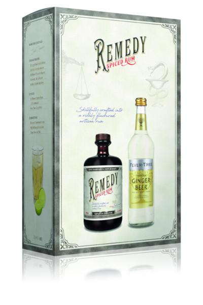Set: Remedy Spiced Dark Rum mit 0,5l Fever Tree Ginger Beer - 1,2L 41,5% vol