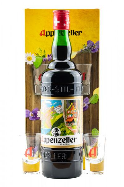 Appenzeller Alpenbitter GEPA mit 2 Gläsern - 0,7L 29% vol