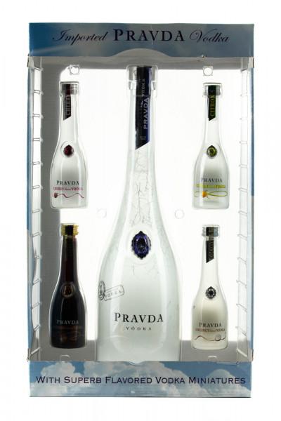 Pravda Vodka GEPA mit vier Miniaturen - 0,9L 40% vol