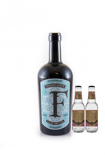 SET: Ferdinands Saar Dry Gin 0,5L + 2 Doctor Polidori Dry Tonic 0,2 L - 0,9L 44% vol