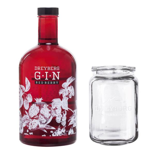 SET: Dreyberg Gin Red Berry + Mason Jar - 0,7L 40% vol