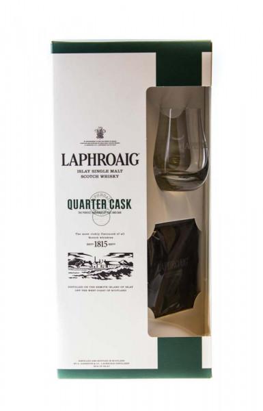 Laphroaig Quarter Cask mit Glas und Schiefer-Untersetzer in GEPA Single Malt Scotch Whisky - 0,7L 48