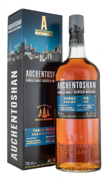 Auchentoshan Three Wood Single Malt Scotch Whisky - 0,7L 43% vol
