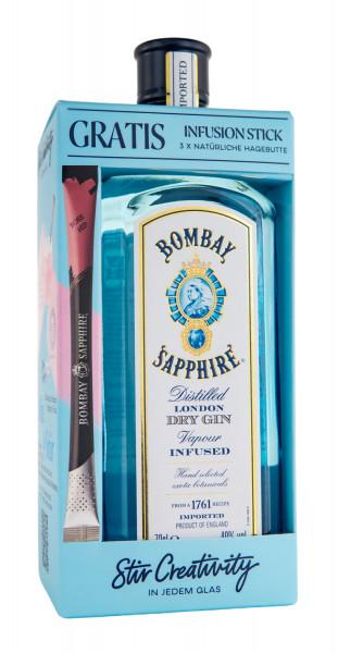 Bombay Sapphire Gin + 3 Hagebutten Infusion Sticks - 0,7L 40% vol