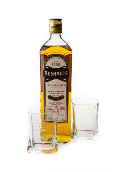 Bushmills Blended Irish Whiskey Geschenkverpackung mit zwei Gläsern - 1 Liter 40% vol