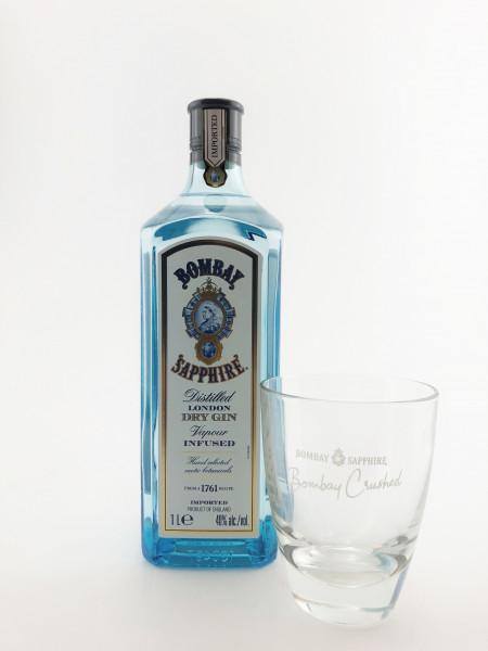 Set: Bombay Gin + Crushed Glas - 1 Liter 40% vol