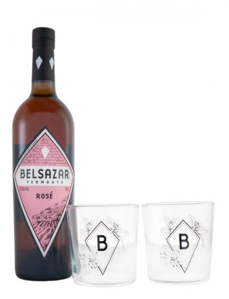 Set: Belsazar Vermouth Rose + 2 Gläser - 0,75L 17,5% vol