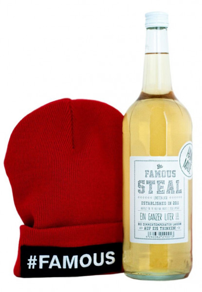 Set: Famous Steal 1L + Rote Mütze - 1 Liter 18% vol