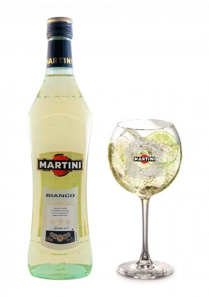 Set: Martini Bianco + Glas - 1 Liter 14,4% vol