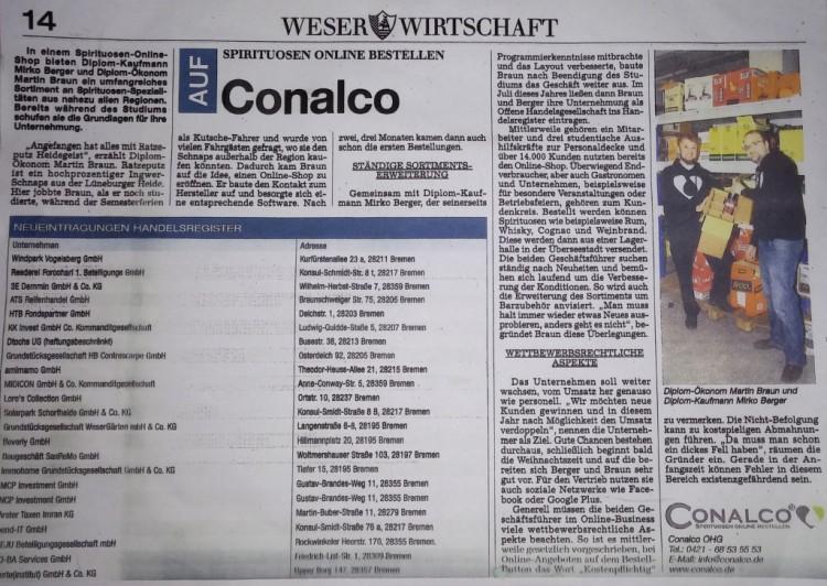 Conalco in der Weser Wirtschaft