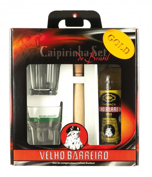 Velho Barreiro Gold Caipi Box mit 2 Gläsern & Stamper - 0,7L 39% vol