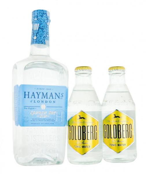 SET: Haymans London Dry Gin 0,7L + 2x Goldberg Tonic Flaschen 0,2L - 1,1L 41,2% vol