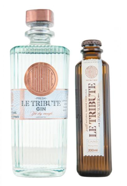 Set: Le Tribute Gin (0,7L) + Le Tribute Tonic Water (0,2L) - 0,9L 43% vol